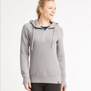 LL Bean Wanderer Sweater 1/4 Zip Hooded Gray Small
